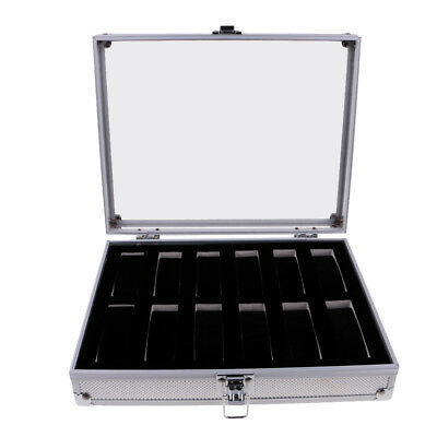 12 Slots Aluminum Wristwatch Watch Jewelry Display Storage Case Box Showcase