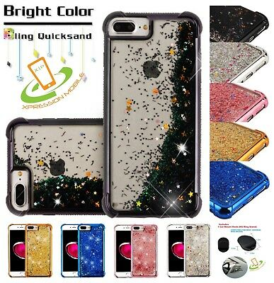 Apple iPhone 7 /8 Plus Liquid Glitter Quicksand Bling Rubber Silicone Case Cover