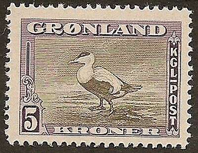 Greenland 1945 5K Eider Duck Sg16 Never Hinged Mint