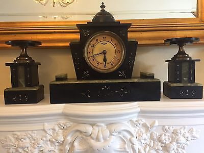 Art Deco marble mantel clock with garnishes