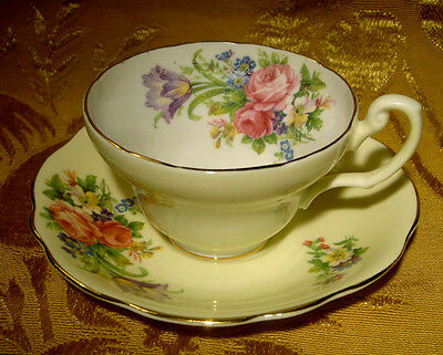 Vintage E.b. *foley Tulip* Yellow Cup & Saucer  Floral Gold Trim Made In England