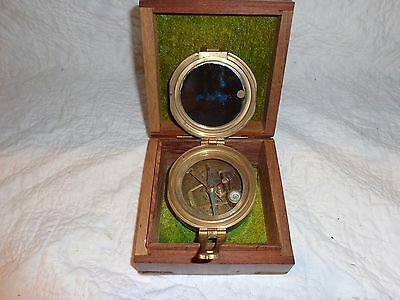 Vintage Stanley London Brass Maritime Compass with Original Wooden Box