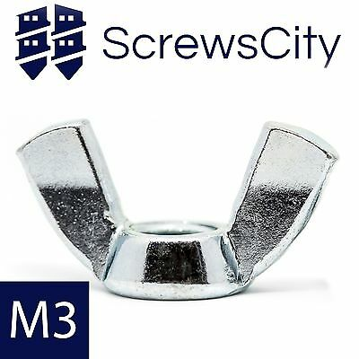 M3 (3mm Ø) WING NUTS BUTTERFLY NUT ZINC PLATED AN93