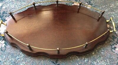 Great Vintage Wooden Tray With Brass Gallery And Handles