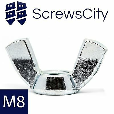 M8 (8mm Ø) WING NUTS BUTTERFLY NUT ZINC PLATED AN93