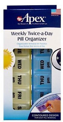 Apex Twice-A-Day Weekly Pill Organizer 1 ea (Color may vary) (Pack of 2)