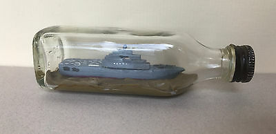 Vintage Handcrafted Model Aircraft Carrier Ship in a Bottle
