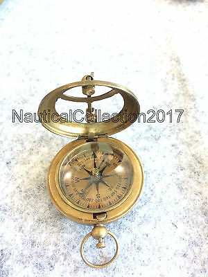"Nautical Solid Brass Push Button Working Compass 2.5"" Sundial Compass"