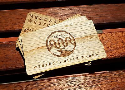 100 Double Sided Custom Laser Engraved Veneer Wood Business Card
