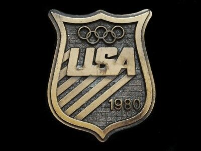 Nc19151 Vintage 1980 **usa Olympic Badge** Sports Belt Buckle