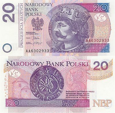 Poland 20 Zlotych (5.1.2012) - New Note with Counterfeit protection/p184 UNC