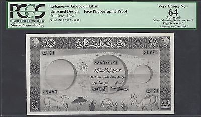 Lebanon Face 50 Lira ND(1964) Pick Unlisted Photographic Proof Uncirculated