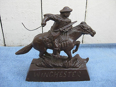 Vintage Cast Metal WINCHESTER Firearms Horse and Rider Bank / Statue