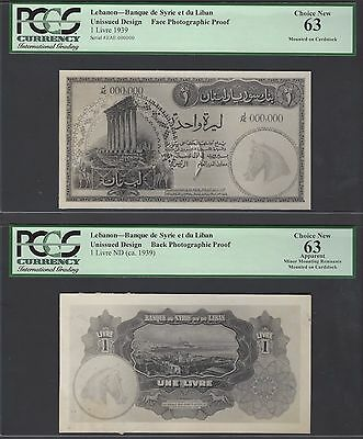Lebanon Syria Face & Back 25 Lira 1939 Pick Unlisted Photographic Proof UNC