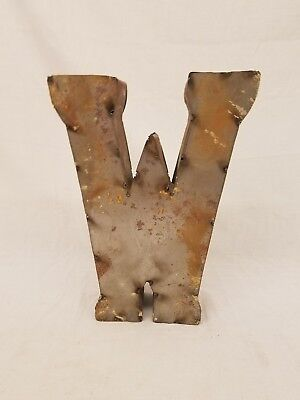 "12"" W Block Letter Vintage Marquee Recycled Metal Tin Industrial Salvage Rustic"