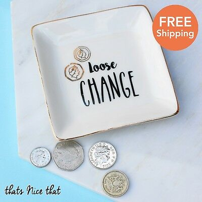 Loose Change Trinket Jewellery Dish Fun Gift Vintage Ring Necklace Cute Gold Her