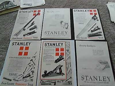 '6' PRINT ADS 1920'S  Stanley Four-Square Tools GREAT STUFF