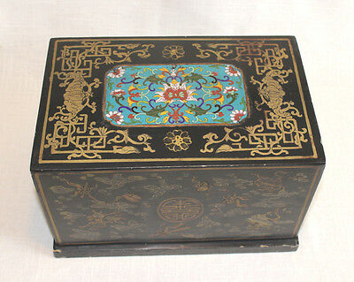 Vintage Chinese Cloisonne Box Lacquer and Enamel Inlay