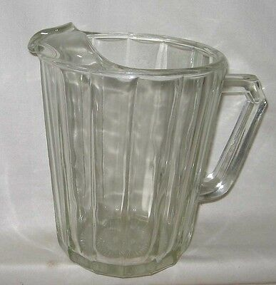 """Vintage Heavy Bar Clear Glass 8"""" Paneled Optic Water or Beer Pitcher"""