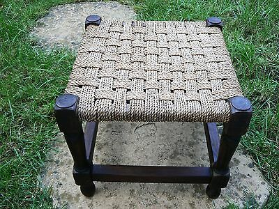 Old Vintage Footrest Stool Twisted String Wicker Woven