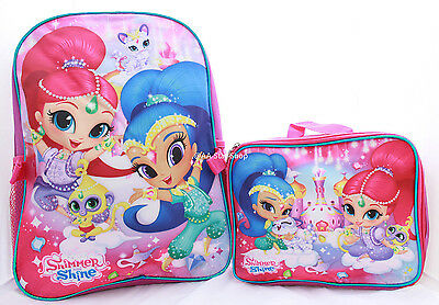 Shimmer and Shine Girls Pink School Backpack Book Bag Lunch Box SET Kids Cartoon