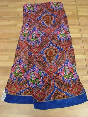 VTG Club 7 by Echo Silk Long Scarf Paisley Floral Bouquet Pink Blue Rectangle