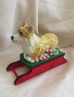 Corgi Clay Sculpture Christmas Sled Ornament