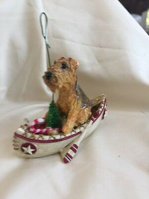 Airedale Terrier Clay Sculpture Christmas Tree Ornament