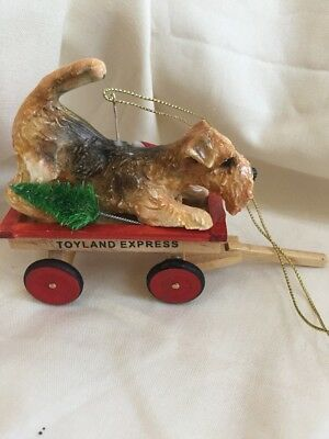 Airedal Terrier Clay Sculpture Christmas Tree Wagon Ornament