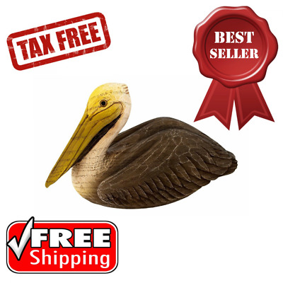Sitting Pelican Statue Resin w/ Faux Wood Textured Sculpture Countertop Display
