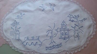 Vintage Hand Embroidered Large Table Centre - 'willow Pattern'!