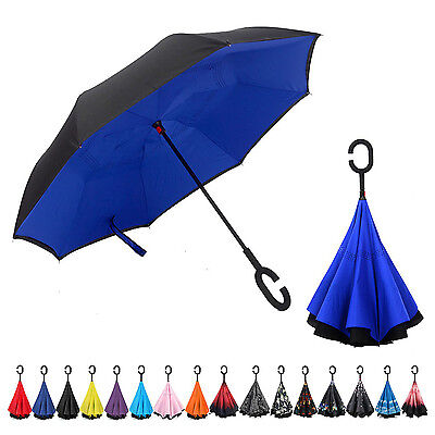 New Inverted C-Handle Double Layer Inside-Out/Upside Down/Reverse Umbrella