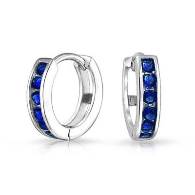 Bling Jewelry 925 Silver Simulated Sapphire CZ Huggie Hoops