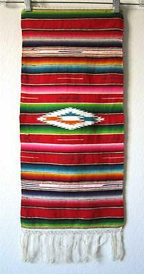 "Beautiful Vintage Mini Mexican Saltillo Serape Hand Woven Wool 11"" x 24"""