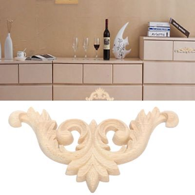 2 x Floral Wood Carved Decal Furniture Woodcarving Decorative Figurines Crafts