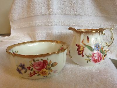 "c1912 Hammersley & Co ""Dresden Sprays"" milk jug & sugar bowl"