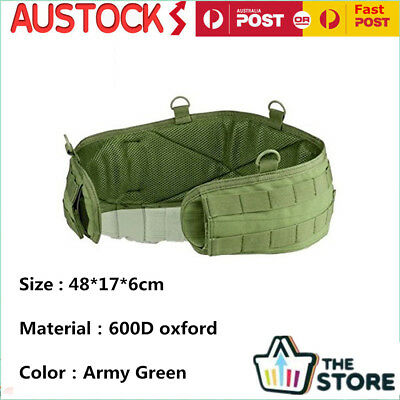 Army Green Battle Belt Padded Molle Military Waist Bag Pouches Hunting Accessory