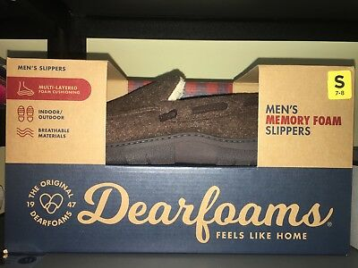 Toasty Warm & Comfy Memory Foam Men's Boy DearFoams Slippers, Size 7-8. FreePost