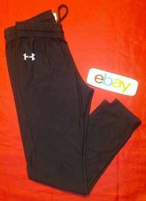 UNDER ARMOUR FITTED Youth Sz YLG JET BLACK ATHLETIC COMPRESSION PANTS EUC !!