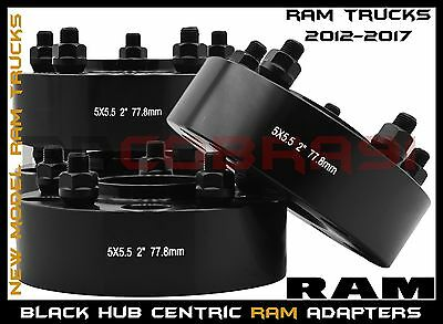 """Complete Set OF 2012-2017 Ram 1500 2"""" Black Hub Centric Wheel Spacers Adapters"""