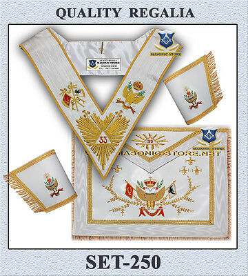 Masonic 33 Degree Set - Apron, Collar & Hard Cuffs A.A.S.R. - R.E.A.A.
