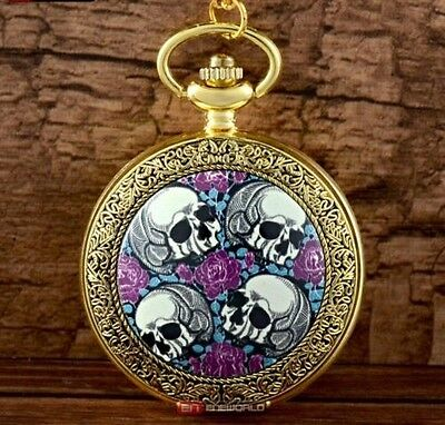 SKULLS & ROSES Gold Tone Pocket Watch Pendant Necklace Goth Punk - Gift Idea
