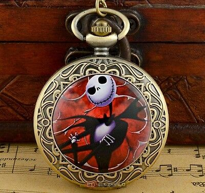 Red Nightmare Before Christmas Jack Bronze Pocket Watch Pendant + Free Necklace