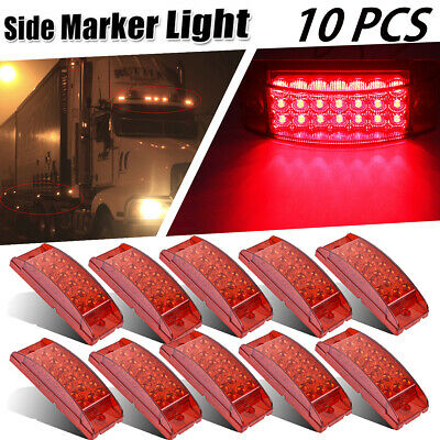 10x Sealed Rectangular 21 LED Side Marker Clearance Light Aux Stop Turn Tail Red