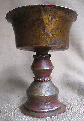 Antique Very Old Used Handmade Tibetan Copper Fire Offering Butter Lamp. Nepal