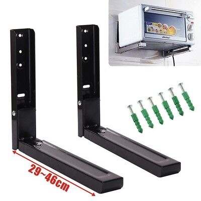 2 Universal Microwave Wall Mounting Holder Brackets Black Extendable Arms UK