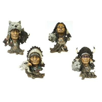 4 er Set Indianer Büsten Wildlife  Adler Wolf Bär Bison Deko Figuren Wild West