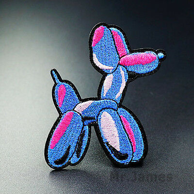 1x Balloon Dog Embroidered Iron On Patch Badge Bag Hat Fabric Appliques Craft