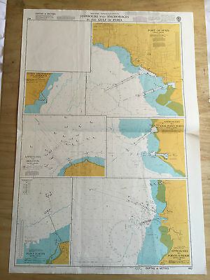 Large Admiralty Chart Office Map of Harbours in the Gulf of Paria Naval Map 1998