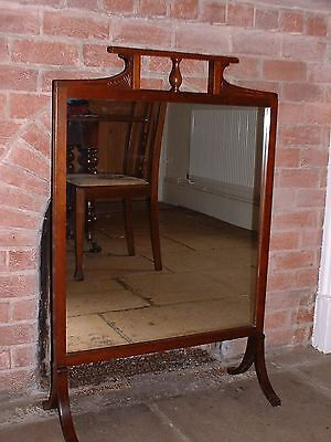 Edwardian Mahogany Firescreen with Mirror